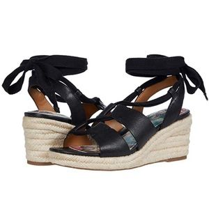 Patricia Nash Riva Wedge Sandals Black Leather